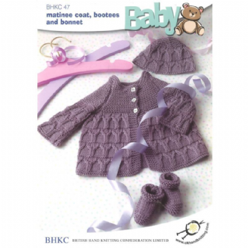 Baby Matinee Coat Bonnet and Booties Set Knitting Pattern BHKC47